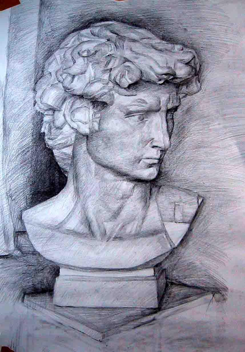 我画的素描 大卫像