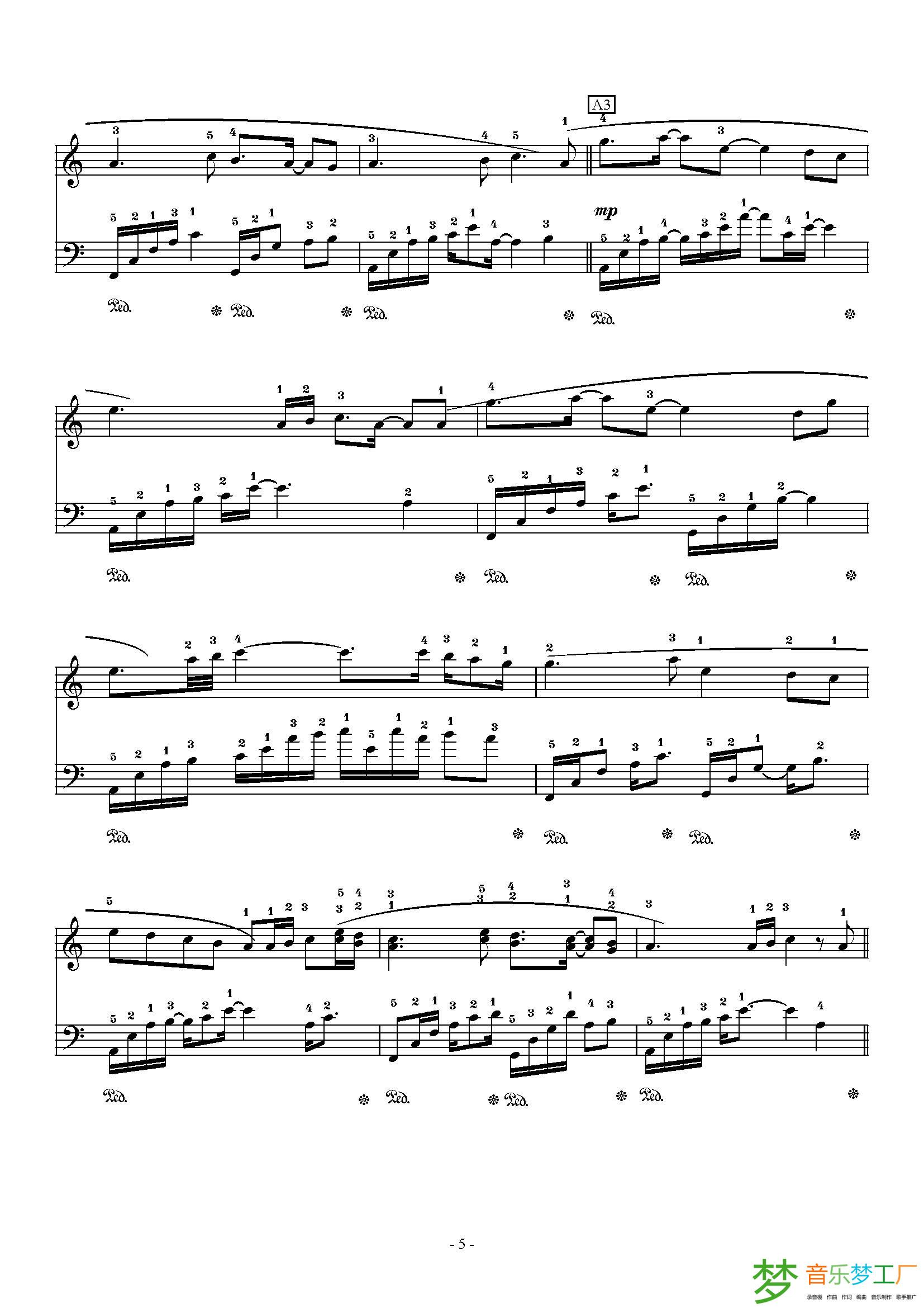 乱红 钢琴曲曲谱 李俊改编 根据陈悦 马克的笛与钢琴合奏曲 乱红 改编